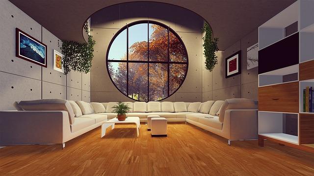 moderní pokoj s dřevěnou podlahou prostorný